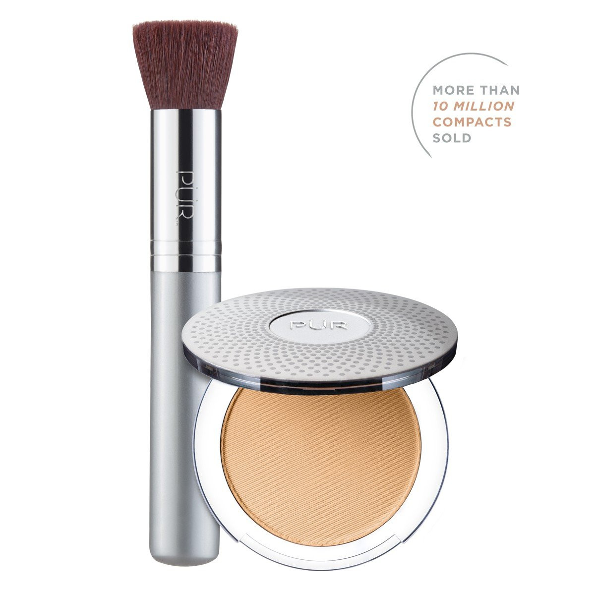 TRY PÜR! 4-in-1 Pressed Mineral Makeup and Brush Kit in Light Tan