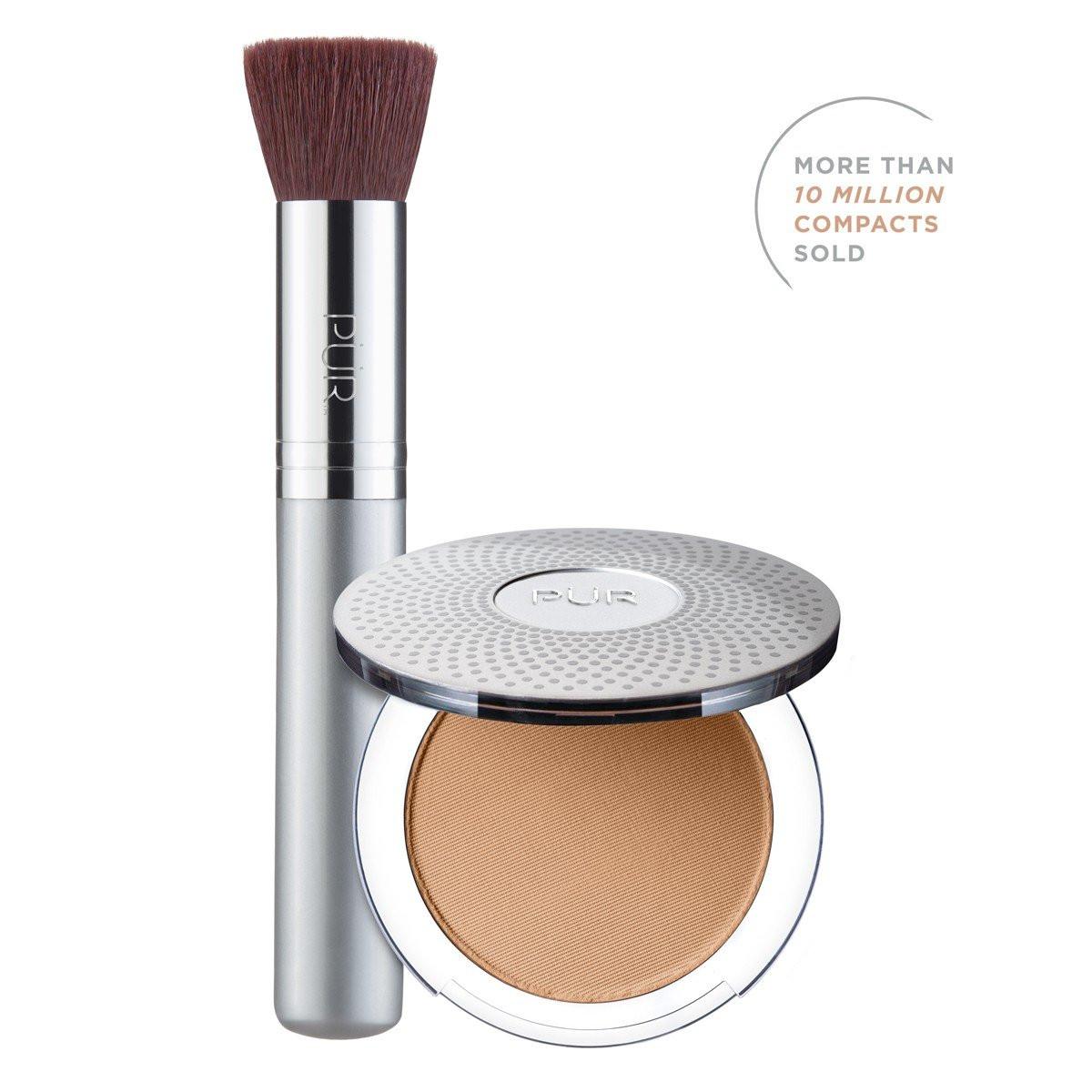 TRY PÜR! 4-in-1 Pressed Mineral Makeup and Brush Kit in Medium Dark