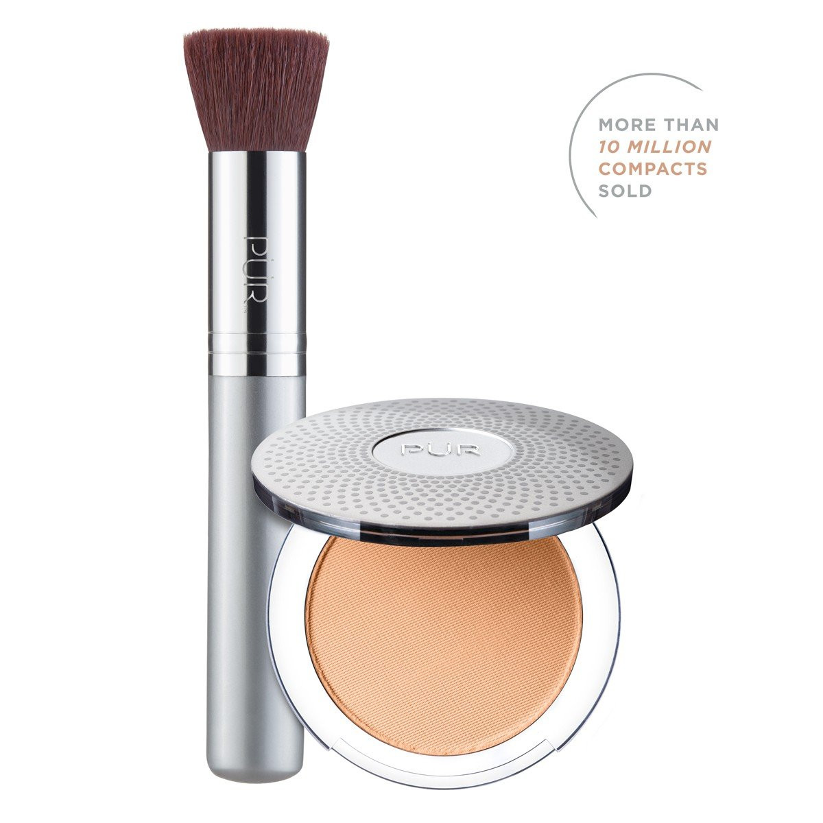 TRY PÜR! 4-in-1 Pressed Mineral Makeup and Brush Kit in Medium Tan