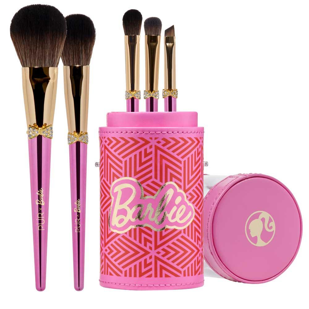 PÜR X Barbie™ Brush 'n Sparkle Signature 5-Piece Cruelty Free Brush Set with Bag